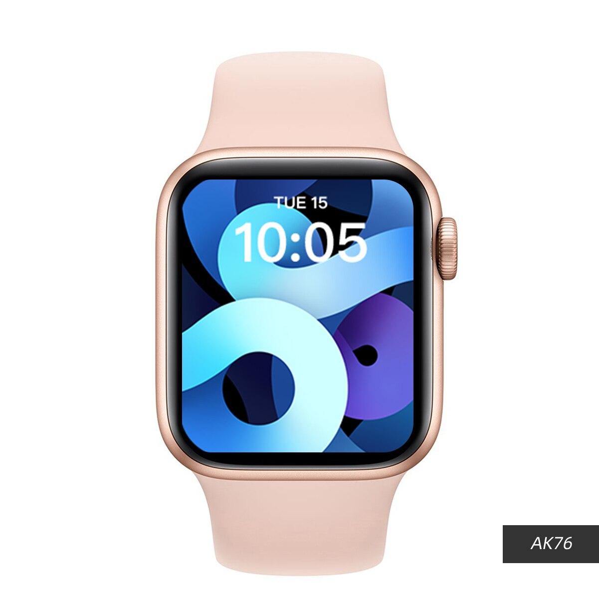 Review 5pcs 2021 IWO AK76 Smart Watch Women Men Games watch 44MM Smartwatch Bluetooth Call Heart Rate 1.75 Inch For Android IOS PK X16