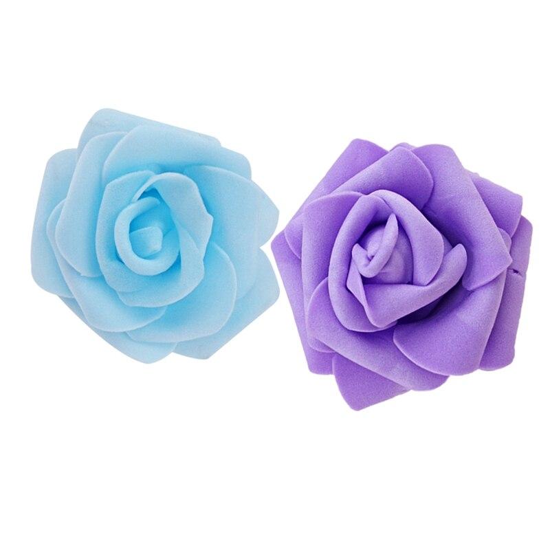 200Pcs High Quality 6Cm Foam Rose Heads Artificial Flower Heads Wedding Decoration - Light Purple & Light Blue