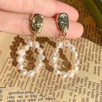 vintage drop earrings for women silver needles baroque freshwater pearls long earrings bridal wedding engagement fine jewelry