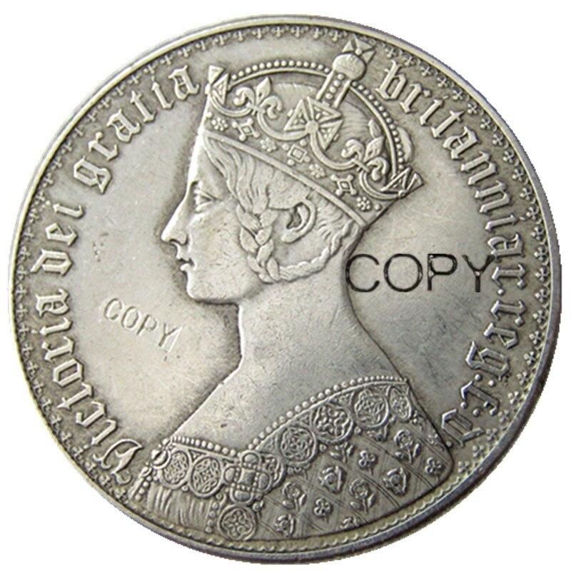 Великобритания Виктория 1853 AR Готический 1 Корона Посеребренная копия монеты