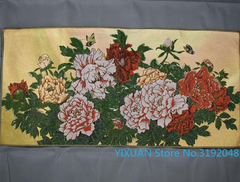 Máquina bordada de peonía rica y noble de tela de brocado bordada pintura de seda pintura de decoración de sala de estar