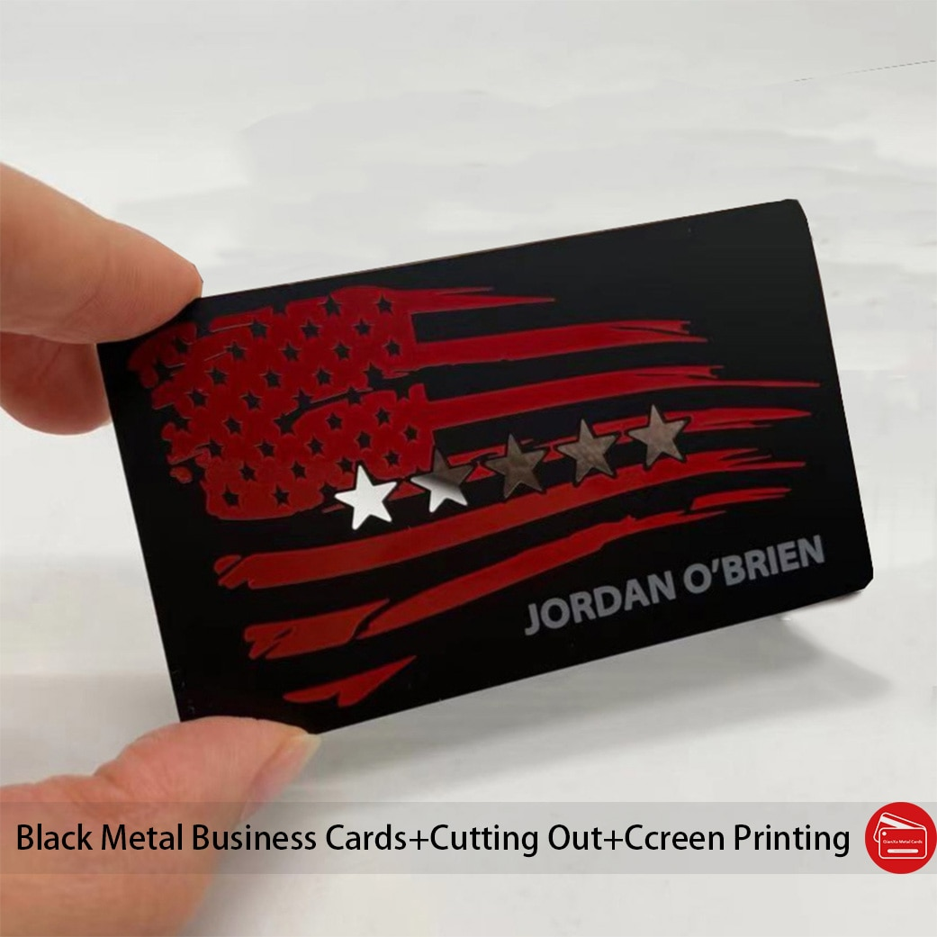 100pcs/lot Metal business cards plated with matte black effect cutting out logo screen printing color