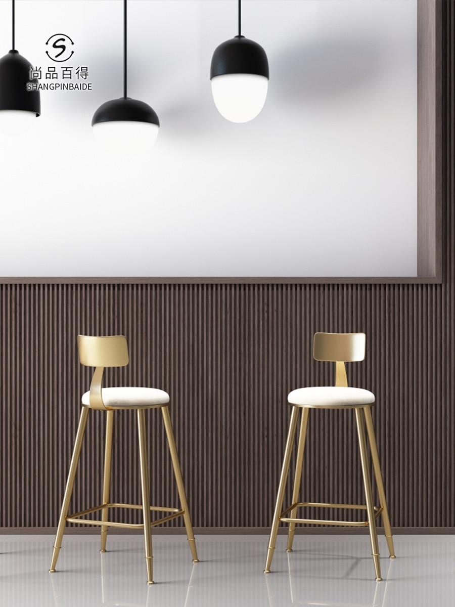 Nordic Bar Chair Tieyiins Creative Dining Chair Golden Bar Chair Simple Barstool Cafe Back High-legged Chair