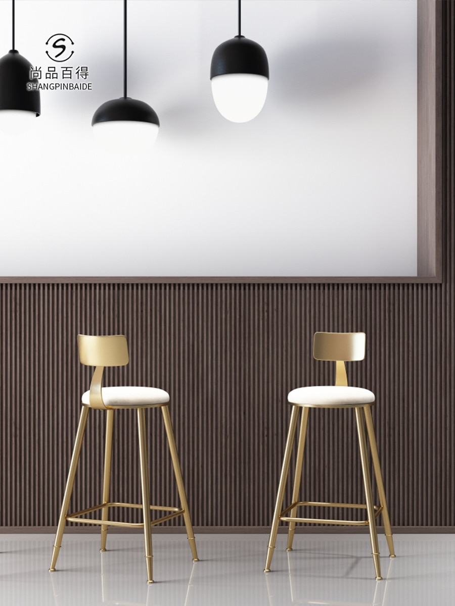 Silla de Bar nórdico Tieyiins, silla de comedor creativa, silla de Bar dorada, silla de Bar Simple, silla de café con respaldo de alta pierna