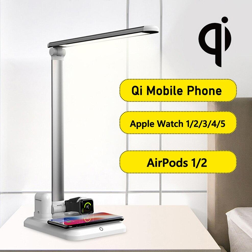 مصباح مكتب ليد متعدد الوظائف, 4 في 1 مصباح مكتب LED شاحن لاسلكي متعدد الوظائف مصباح طاولة لهاتف iPhone 11Pro Xs Max Xr 11X8plus Apple Watch 5 3 4 Airpods 2