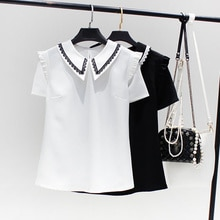 2021 Summer New Japanese Style Solid Color Temperament Chiffon Doll Collar Blouse Fungus Lace Splici