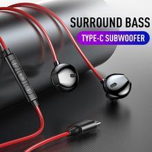 Fones de ouvido usb tipo c, com fio, stereo, graves, núcleo quad core, com cancelamento de ruído xiaomi huawei microfone