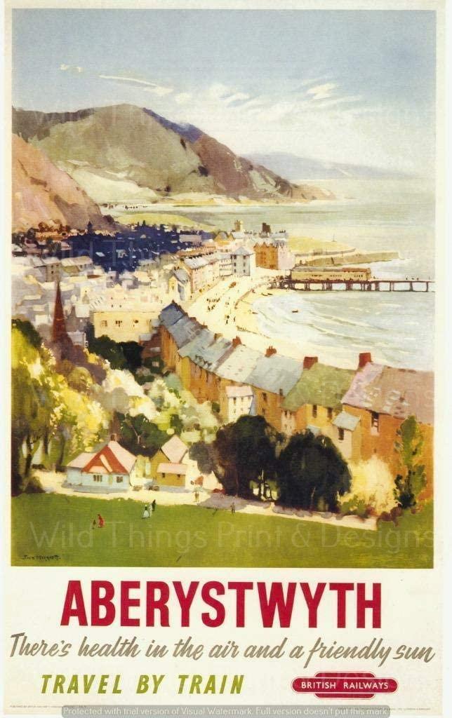 Aberystwyth-Decoración de pared, señal de lata de Metal para viaje en tren,...