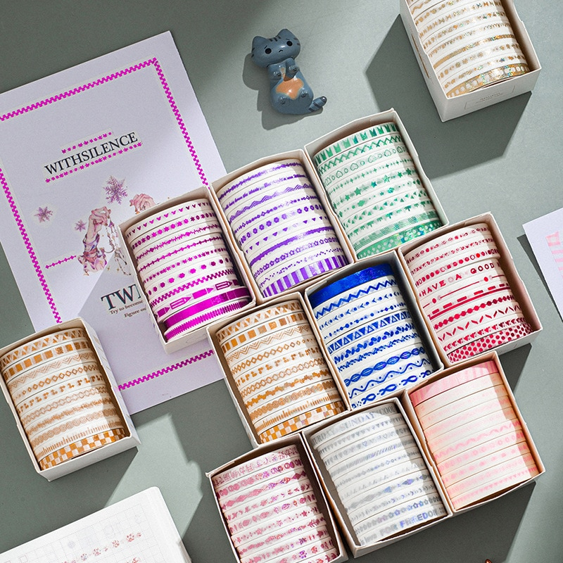 10 rollos de oro fino conjunto de cintas Washi cinta de enmascarar de papel de aluminio para Scrapbooking decoración para manualidades tamaño 5mm2m