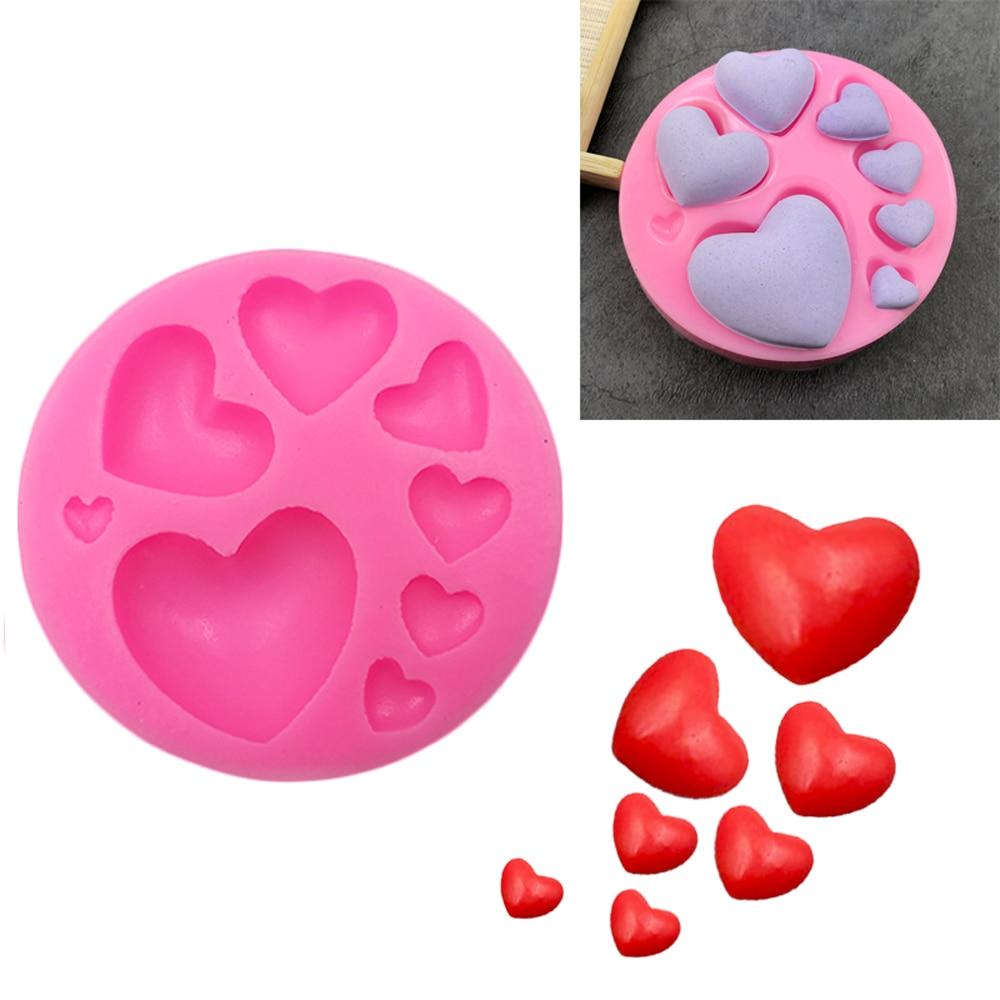 Силиконовая форма в форме сердца для помадки, форма для выпечки торта ручной работы, «сделай сам», красочные сладкие сердца, шоколадные конф...