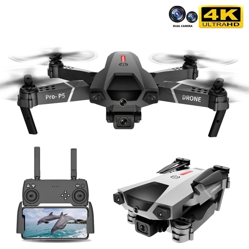 2021 New P5 Drone 4K Dual Camera Professional Aerial Photography Infrared Obstacle avoidance Quadcopter RC Helicopter Child Toy