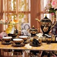 15 piece set of european luxury bone china coffee tea set gold color painted ceramic fashion cup tea set