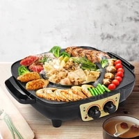 multifunction electric barbecue shabu baking one pot smokeless square grill home high power 1400w non stick pan indoor hot pot