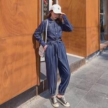 One-piece Jeans Flattering Jumpsuit Autumn Denim Blue Double-Line