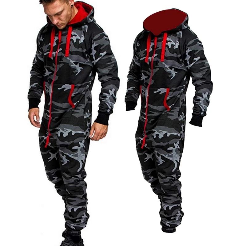 2020 Men's Sets Men's Jumpsuit One Piece Men's Hooded Fleece Jumpsuit Men Camouflage Print Personality Casual Suits Men