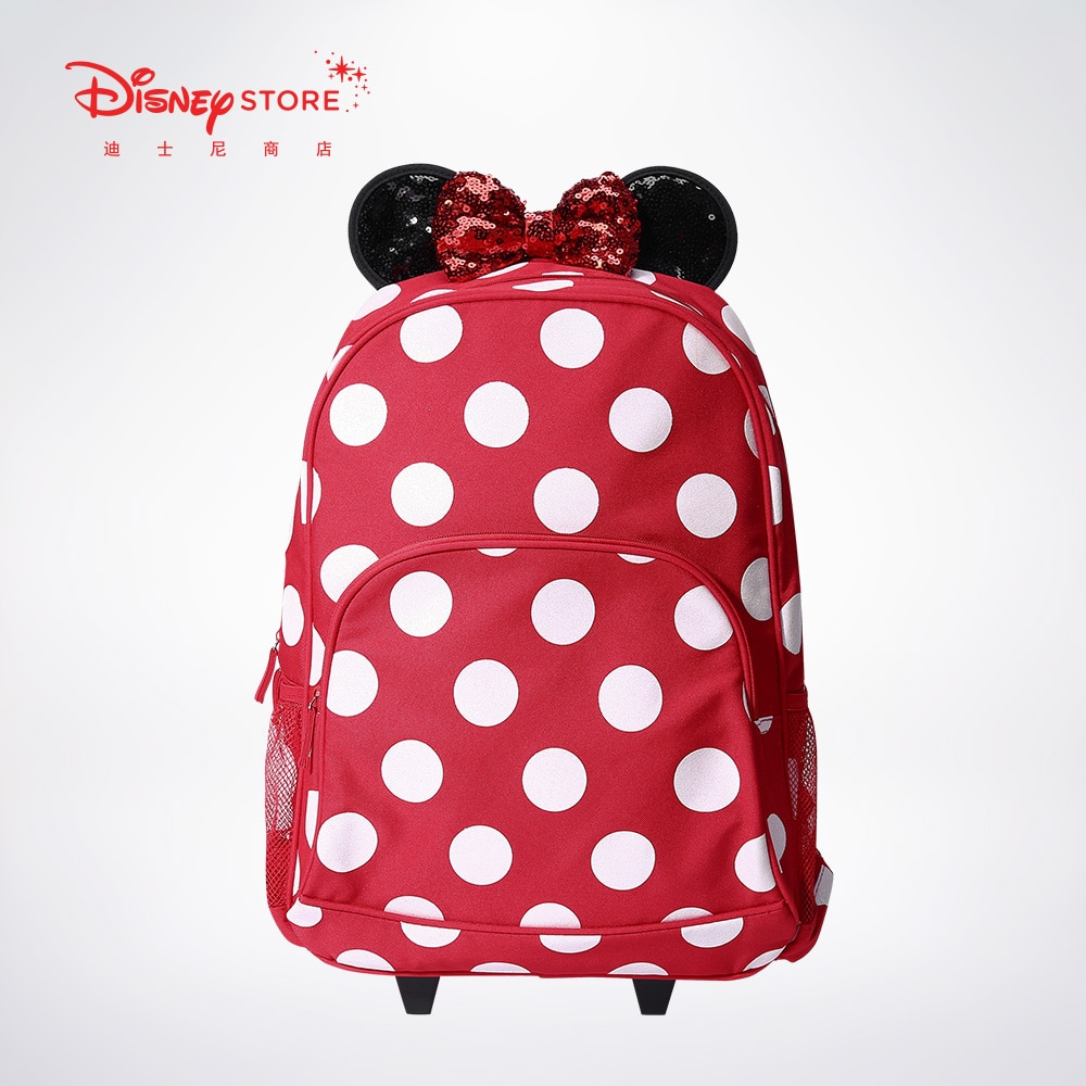Original Disney Lovely Minnie Red Roller Pull Rod Bag Double Shoulder Bag Student Schoolbag Pull Rod Backpack 6930018950704