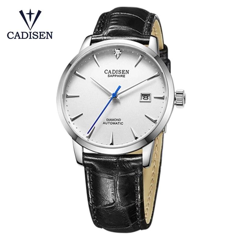 CADISEN الرجال الميكانيكية ساعات المعصم رجالي ساعة العلامة التجارية الفاخرة ميوتا 9015 ساعة ماسية حقيقية الهدايا منحني الياقوت الساعة الزجاجية