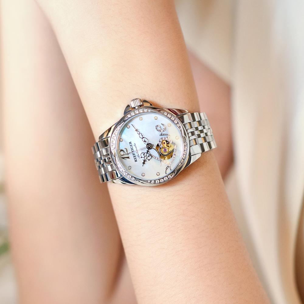 2021 Reef Tiger/RT Top Brand Luxury Flower Diamond Women Steel Bracelet Automatic  Relogio Feminino RGA1583 enlarge