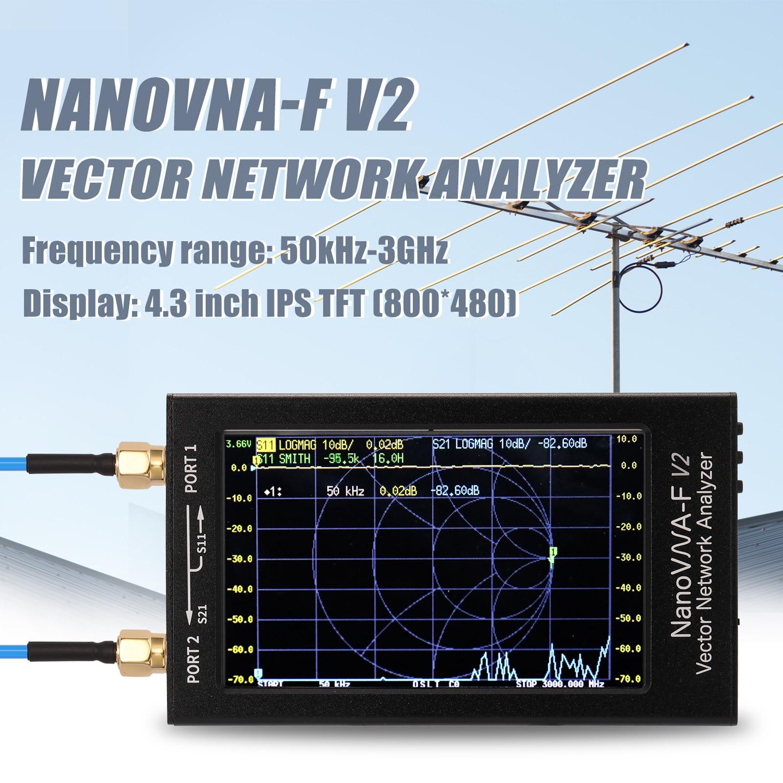 NanoVNA-F V2 شاشة الكريستال السائل ناقلات شبكة محلل 4.3 بوصة IPS الطيف محلل S-A-A-2 هوائي محلل موجة قصيرة HF VHF UHF