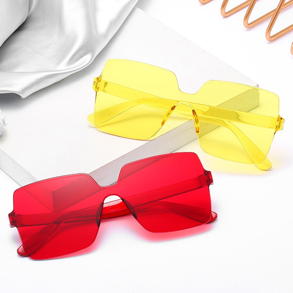 One-piece Frameless Sunglasses Women Wholesale Fashion Color Sun Glasses  Candy-colored Glasses