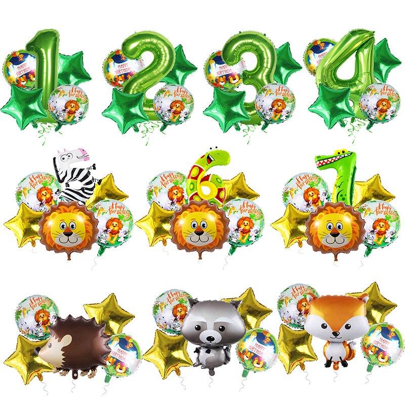 Jungle Decoration Animal Zoo Theme Birthday Balloons 0 1 2 3 4 5 6 7 8 9 Years old Number Foil balloon Set Safari Party globos