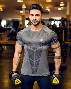 Fitness Clothes Sports T-shirt Muscle Tights Men's High Elastic Training Fast Drying Clothes Short Sleeve Fitness Clothes Men's
