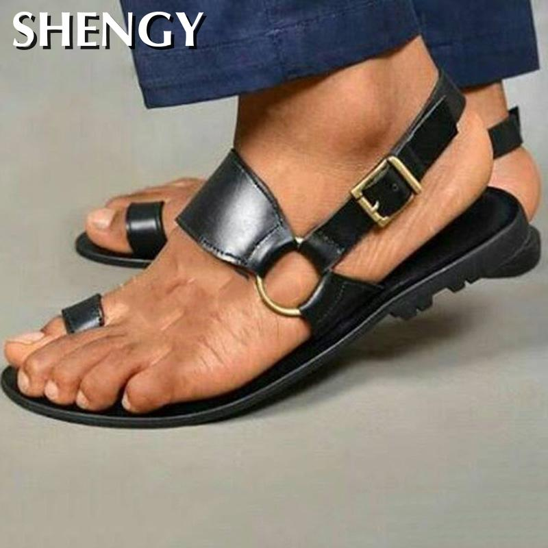 Zapatos De hombre, Sandalias planas para hombre, zapatillas De verano, Zapatos para hombre con correas cruzadas, sandalias Vintage De PU para exteriores De talla grande, Zapatos De Hombres