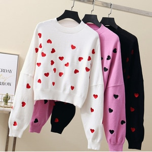 Autumn Winter Korean Fashion Pink Pull Femme Print Heart Autumn Winter Clothes Embroidery Short Knitted Sweater Pullover Tops