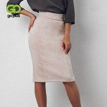GOPLUS jupes femmes Sexy hiver noir blanc taille haute grande taille fendu genou longueur jupe crayon Faldas Mujer Moda 2020 C8174
