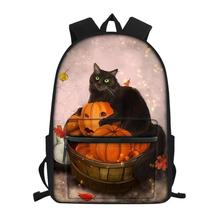 HaoYun Fashion Children's Canvas Backpack Fantasy Cats Pattern Girls School Book Bags Cartoon Animal Women's Travel Backpacks