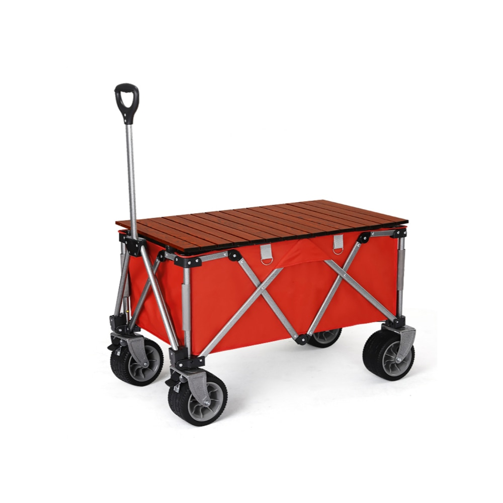 Collapsible Folding Garden Utility Wagon with Table Top Picnic Camping Cart Solid Rubber Wheels for Shopping Outdoor Sport Event