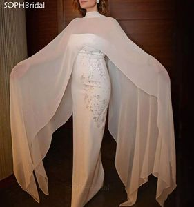 New Arrival Evening Dresses 2021 Muslim Sheath Chiffon Beaded Crystals Islamic Dubai Saudi Arabic Long Formal Prom Gown Vestidos