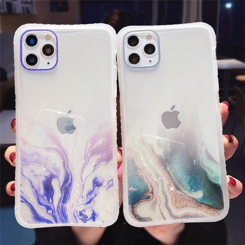 Funda de móvil transparente con textura de mármol gradiente, purpurina para iPhone 11 11Pro Max XR XS Max X 6S 7 8 Plus 11Pro SE 2020