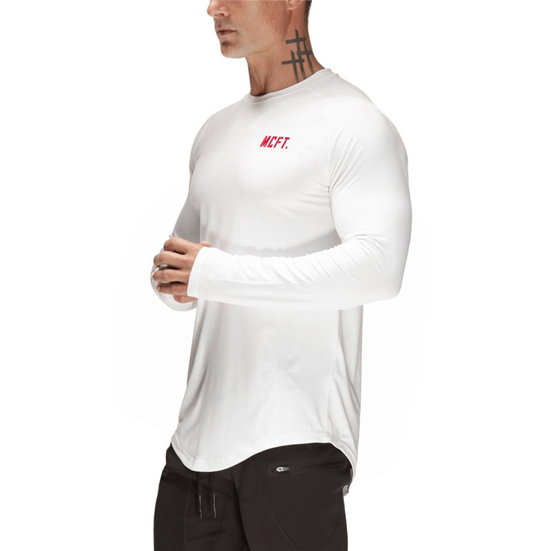 Running camisa de malla de secado rápido Fit hombre Camiseta de deporte de manga larga Camiseta Fitness hombres tenis fútbol Jersey gimnasio ropa deportiva