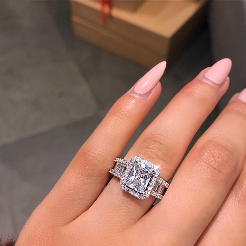 Европейский и американский бутик, кольцо из стерлингового серебра S925 пробы с цирконием, обручальное свадебное кольцо, женские вечерние укр...