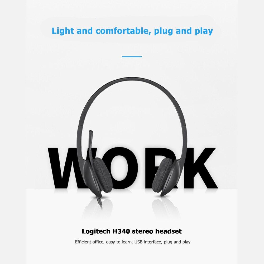 Auriculares estéreo USB Logitech H340, llamadas manos libres, reunión de juegos, Video Chat para Windows MacOS, auriculares con cable con micrófono