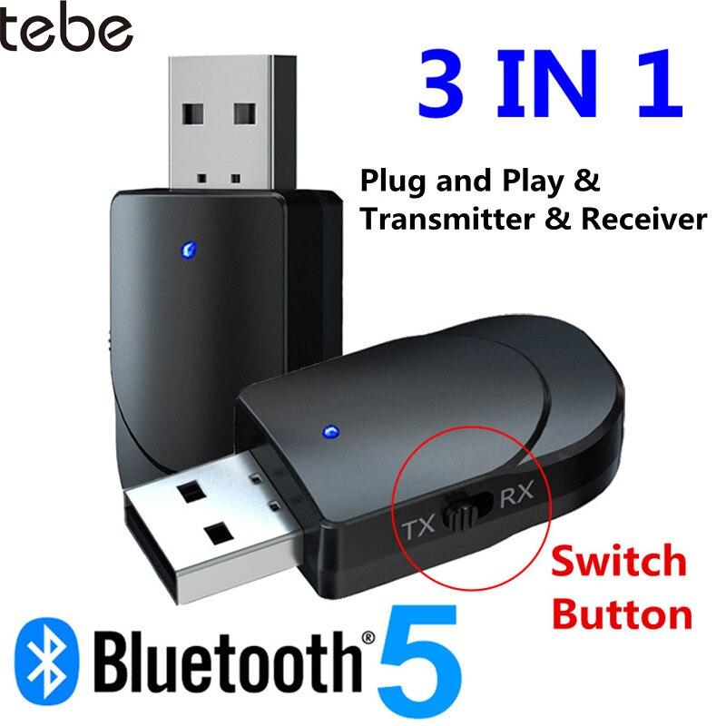 Tebe bluetooth 5.0 receptor transmissor 3 em 1 mini estéreo aux rca 3.5mm jack usb adaptador de áudio sem fio para tv pc carro fone de ouvido