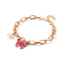 Último diseño de brazaletes de aleación para niñas, colgante de mariposa colorido ajustable, abalorio de perla, pulsera de cadena de oro, joyería para mujeres