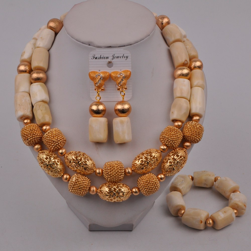 White Coral Jewelry Set Nigerian Wedding Bridal Set Coral Necklace African Jewelry Set  319-G1