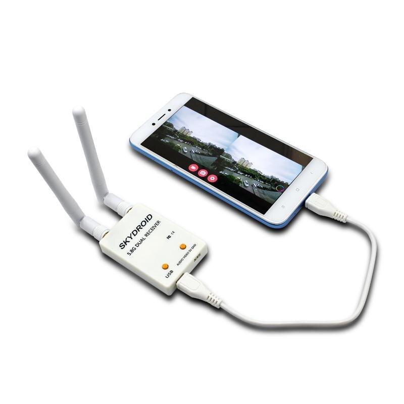 SKYDROID UVC antena Dual Receptor de Control OTG 5,8G 150CH canal completo FPV receptor W / Audio para Android Smartphone