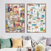Affiche de peinture sur toile multicolore  carre abstrait moderne  peinture artistique murale imprimee sur toile pour chambre denfants  decoration de maison