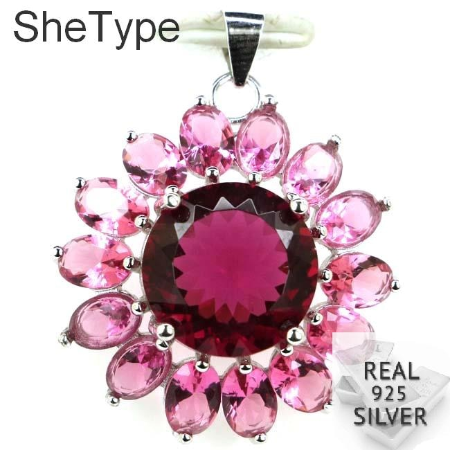 32x26mm Multi Color 4.8g Criado Turmalina Rosa de Presente Para A mulher de 925 Pingente de Prata Esterlina Sólida