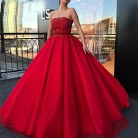 red appliques beaded ball gown prom dresses 2021 strapless formal evening dress ball gown robe de soiree