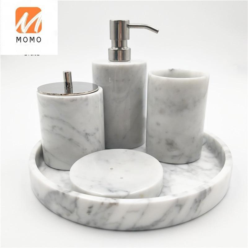 كارارا الأبيض حجر رخام طبيعي مصقول ملحقات الحمام مجموعة كاملة لكونترتوبس الغرور