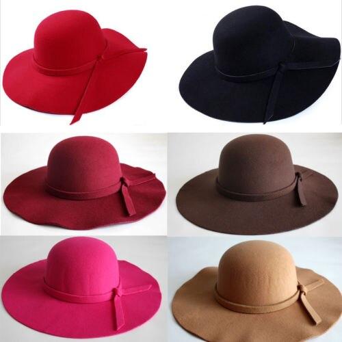 Hot Fedoras Vintage Lady Womens Wide Brim Wool felt Hat Floppy Felt Bowler Cloche Cap
