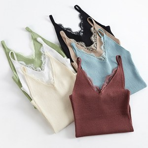 summer wearing jacket spring and summer new bottom ice silk knitted sweater lace short style inside hanging strap shirt