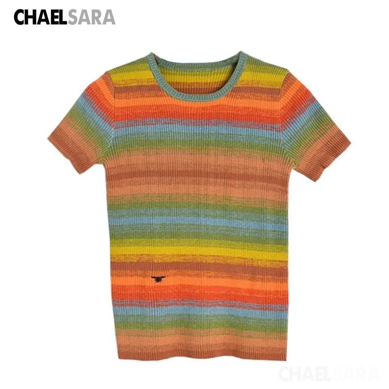 2020 verão casaul arco-íris pulôver t camisa das mulheres colorido fino bordado harajuku manga curta de malha tshirt feminino