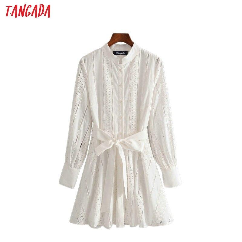 Tangada женское белое платье-рубашка с вышивкой и длинным рукавом 2020 новые женские мини платья vestidos 3H104