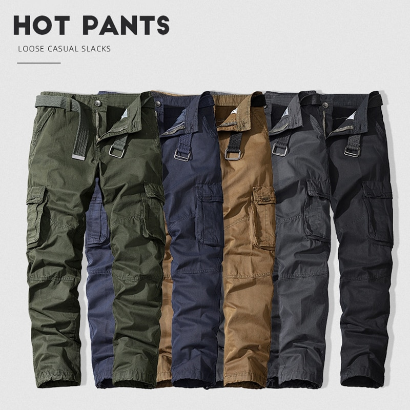 Брюки-карго LUCLESAM мужские, повседневные эластичные штаны в стиле милитари, с несколькими карманами, уличные джоггеры, брюки для походов