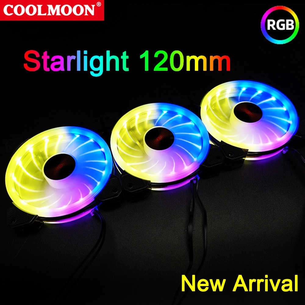 Coolmoon 120mm RGB Cooler Fan Starlight 6Pin PC Case Cooling Heatsink for Computer Chassis CPU Radiator Replacement Accessories